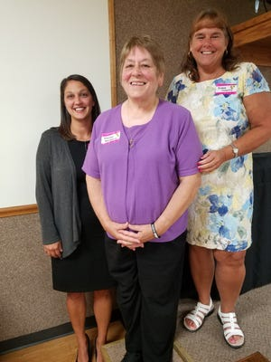 Teachers Lauren Miller, Roseann Bonamico and Ronna Coventry (left to right) were among those honored Tuesday by the Twin City Chamber of Commerce.
