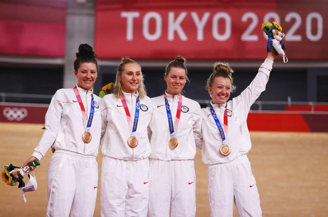 Apple Valley native Megan Jastrab (second from left) and the U.S. women's cycling team took home the bronze medal in the Women's Team Pursuit event at theSummer Olympic Games in Tokyo.