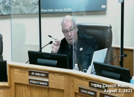 Barstow's interim City Manager, Jim Hart, explains his recommendations for how the city should spend some of its roughly $5.7 million of federal pandemic-relief at a City Council meeting on Aug. 2, 2021.