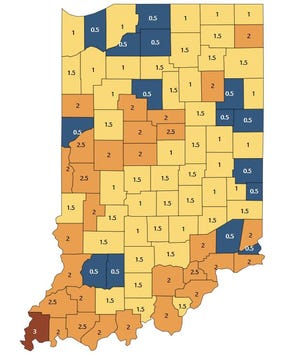 """Posey County is the first  county in months to be rated """"red"""" or high risk on the Indiana State Department of Health's COVID-19 advisory map as the delta variant of the virus continues to spread."""