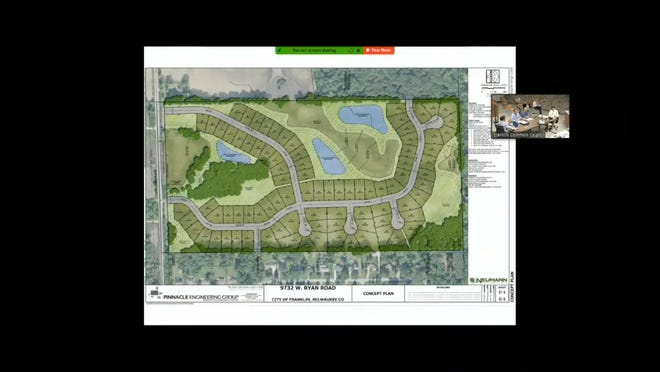 One of the projects, as seen here in this screen capture from the Aug. 3 Common Council meeting, includes 87 home sites proposed for 79 acres at 9732 W. Ryan Road.