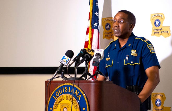 Col. Lamar Davis, superintendent of the Louisiana State Police, speaks about the agency's release of video involving the death of Ronald Greene, at a news conference in Baton Rouge in May.
