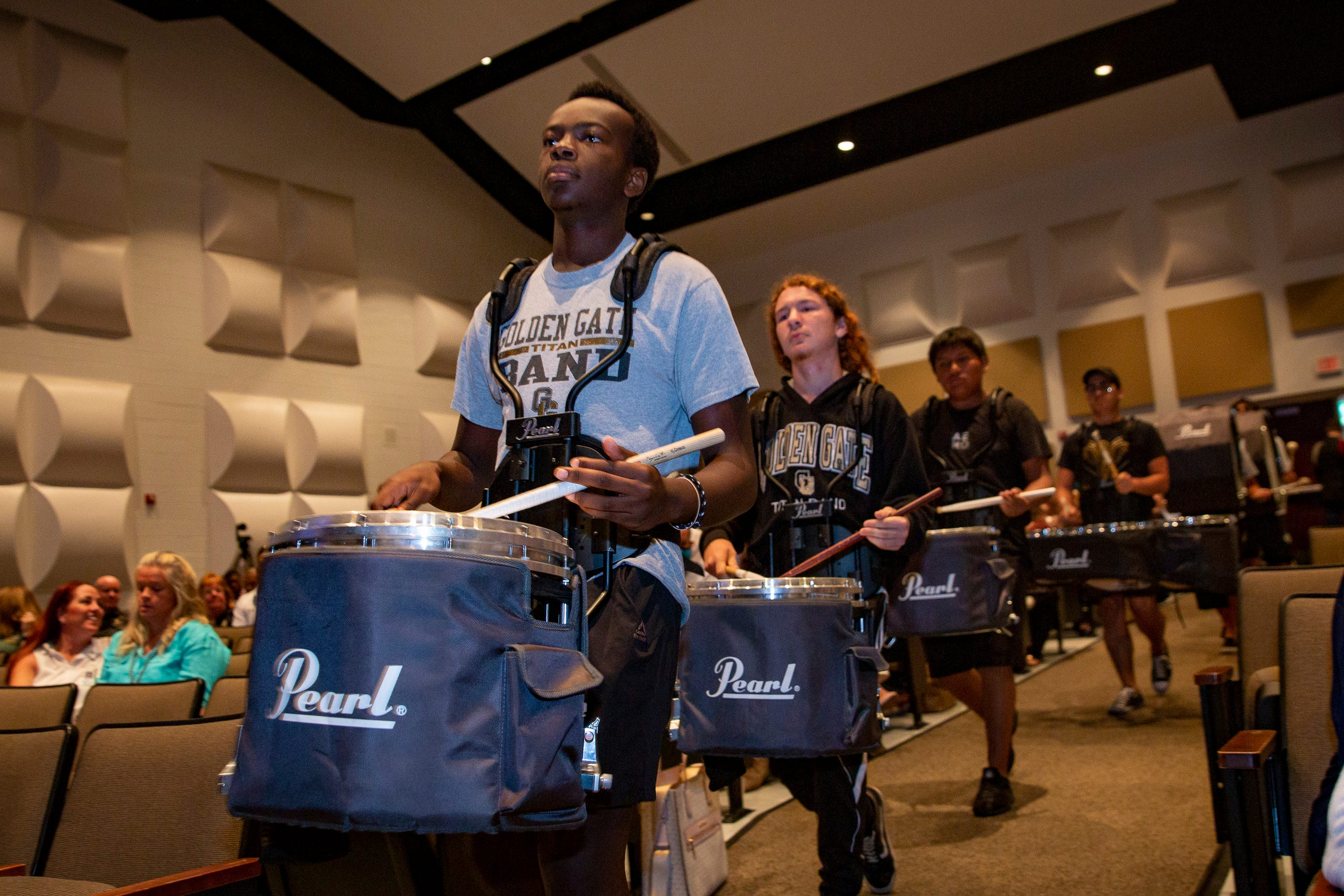 Members of the Golden Gate High School drum line perform during the 2021-22 Opening of Schools ceremony, Wednesday, Aug. 4, 2021, at Golden Gate High School.