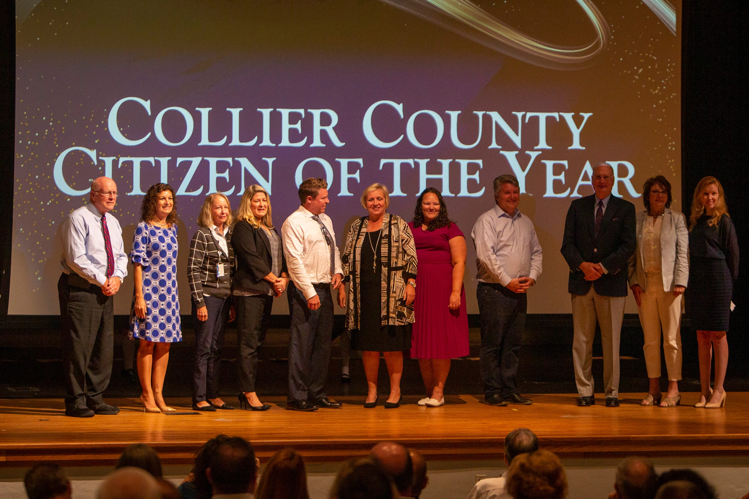 Kamela Patton, superintendent of Collier County Public Schools poses for photos with members of the Naples Daily News and the Greater Naples Chamber of Commerce after being named Outstanding Citizen of the Year during the Opening of Schools ceremony, Wednesday, Aug. 4, 2021, at Golden Gate High School.