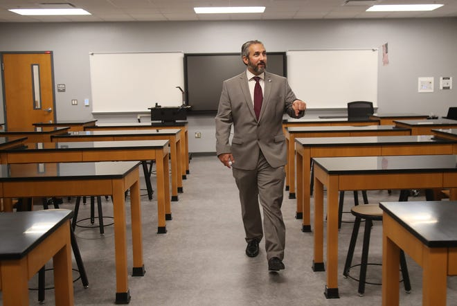Lee County Schools Superintendent Ken Savage tours Lehigh Acres Middle School on Wednesday, July 28, 2021, in Lehigh Acres, Florida.
