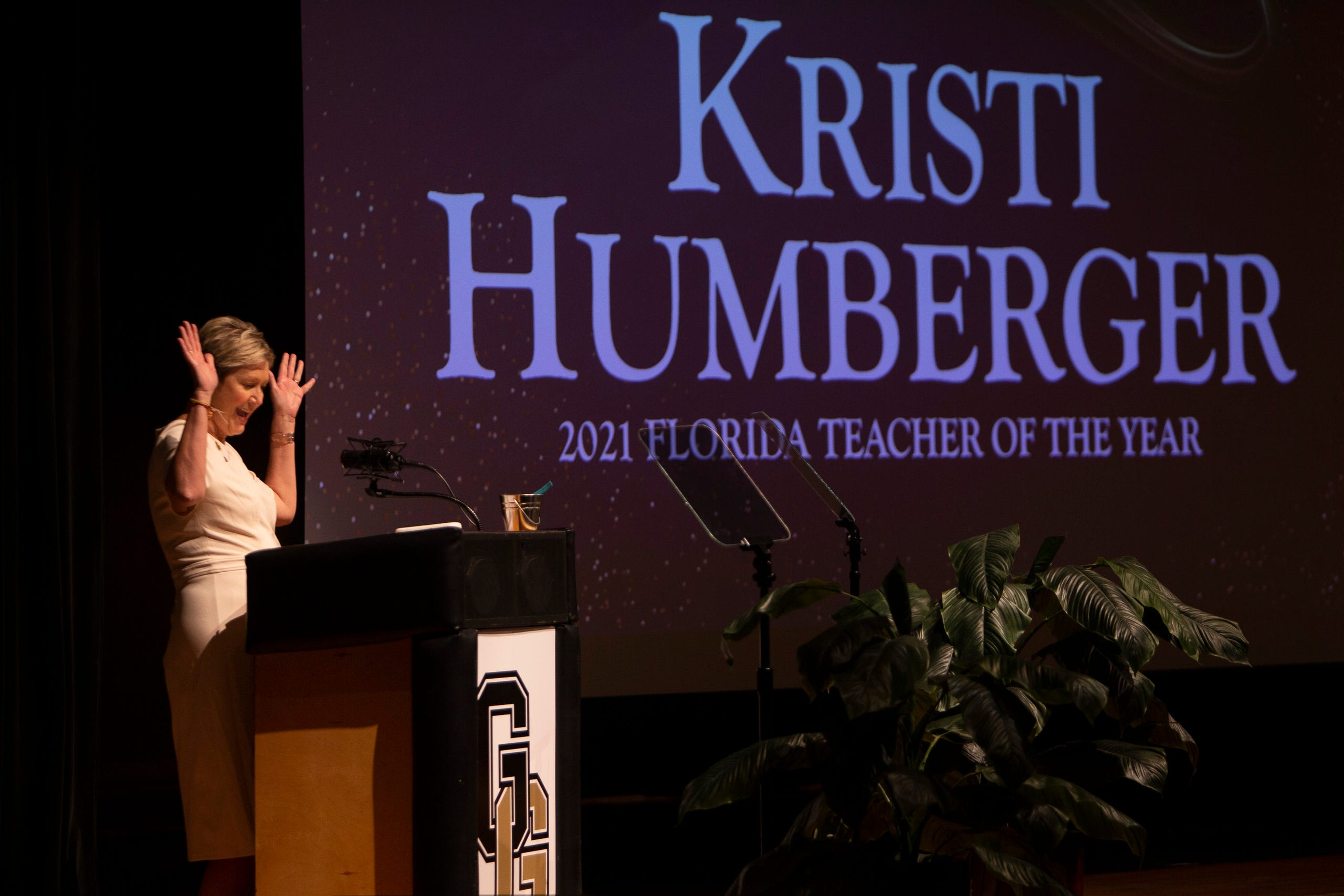 2021 Florida Teacher of the Year recipient Kristi Humberger speaks to her colleagues during the 2021-22 Opening of Schools ceremony, Wednesday, Aug. 4, 2021, at Golden Gate High School.