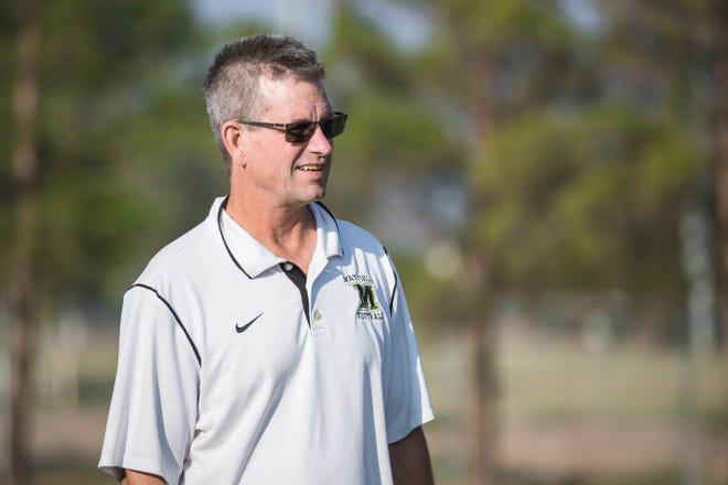 Head coach Michael Bradley runs drills at practice at Mayfield High School in Las Cruces on Wednesday, Aug 4, 2021.