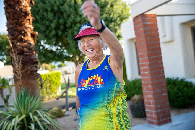 Racewalker Darlene Backlund cools down after a workout outside her home in Palm Springs, Calif., on July 29, 2021. Backlund won a Gold medal in the 75-79 10k Racewalk at the USA Track & Field National Masters Championships in July.