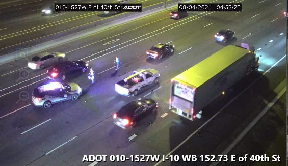 A crash occurred on westbound Interstate 10, east of 40th Street, in Phoenix shortly before 5 a.m. Wednesday, Aug. 4, 2021, according to the Arizona departments of Public Safety and Transportation.