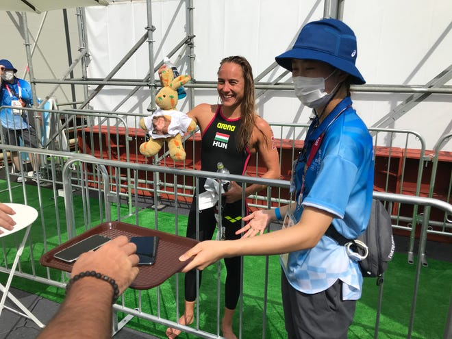 Former ASU swimmer Anna Olasz was fourth Wednesday in Olympic women's marathon swimming.