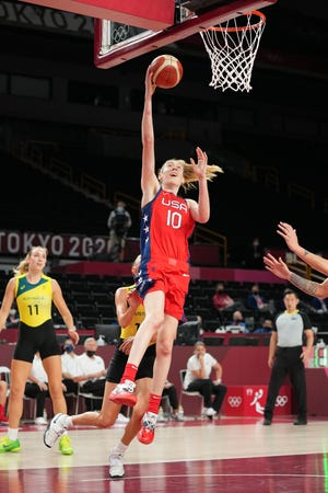 Aug 4, 2021; Saitama, Japan; USA player Breanna Stewart (10) shoots against Australia during the Tokyo 2020 Olympic Summer Games at Saitama Super Arena.