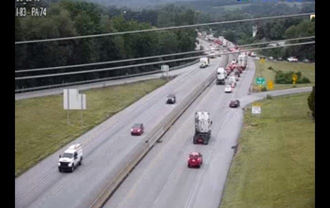 There is a lane restriction on Interstate 83 because of a crash. Aug. 4, 2021.