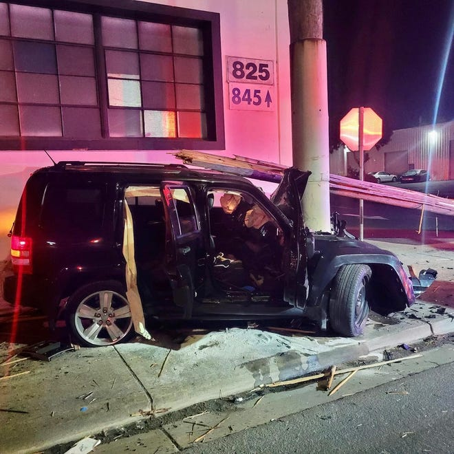 Salinas police investigate a single-vehicle crash on Wednesday, August 4, 2021.