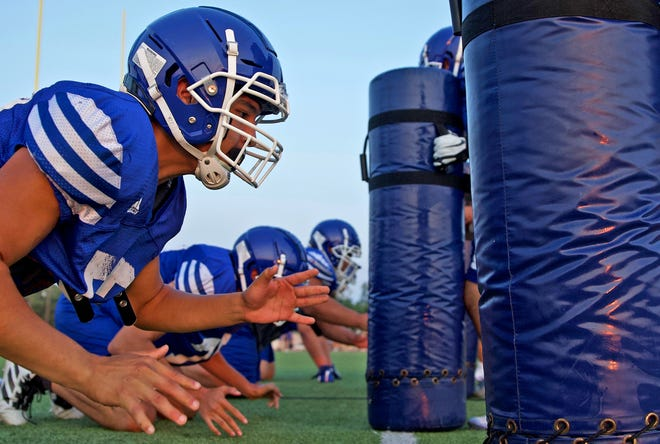 Players on the Lake View High School football team practice for the upcoming season Wednesday, Aug. 4, 2021.
