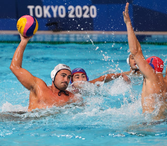 Ben Hallock, who grew up in Westlake Village, scored three goals in the U.S. men's water polo team's 15-13 Olympic win over Japan.