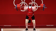 Lasha Talakhadze of Georgia on his way to a gold medal Wednesday in Tokyo.