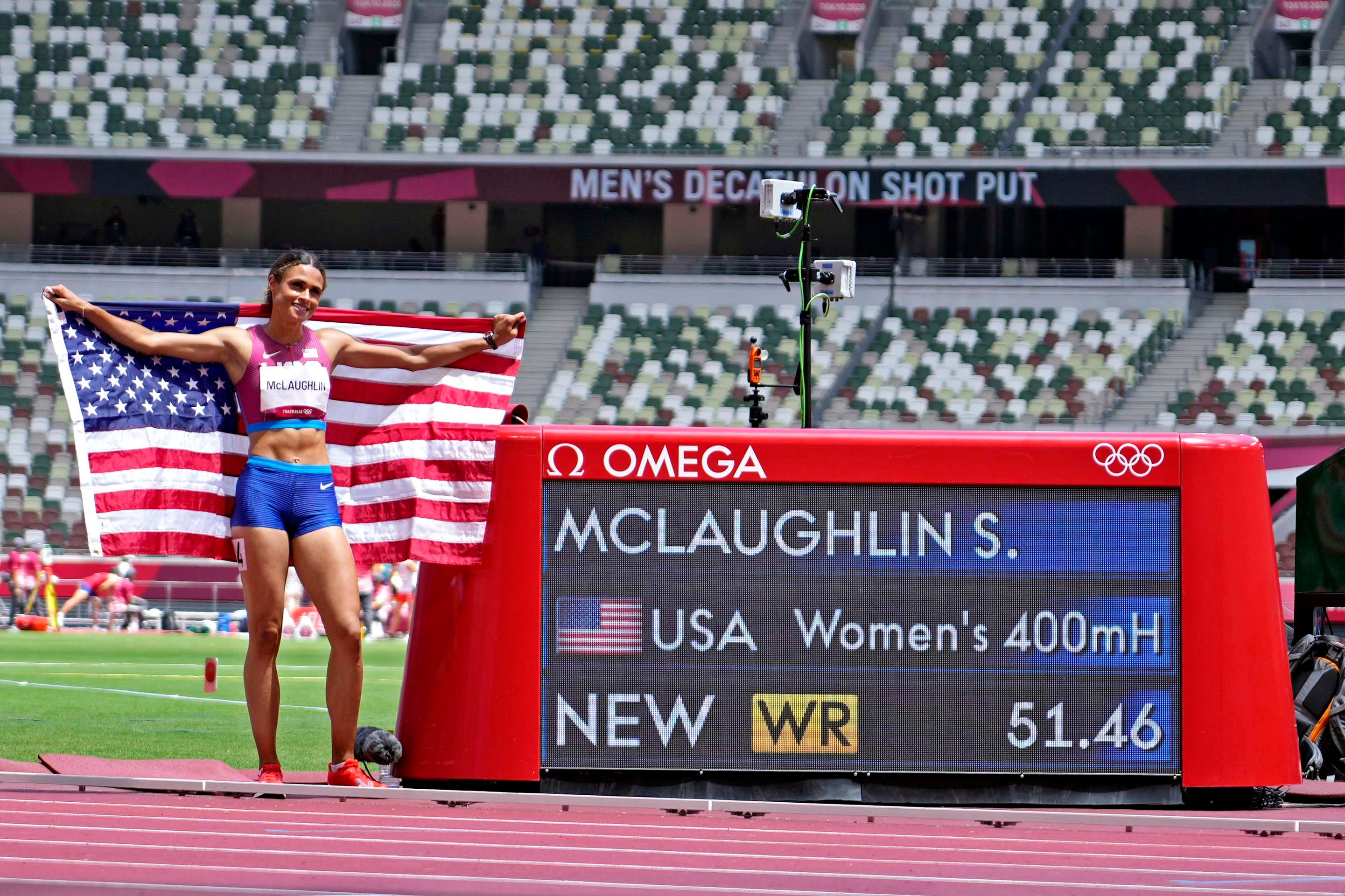 Sydney McLaughlin sets world record; Dalilah Muhammad wins silver in 400 hurdles