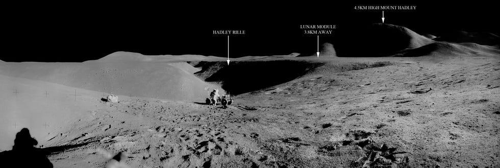 Panorama del primo utilizzo dell'LRV con posizioni sulla Luna.