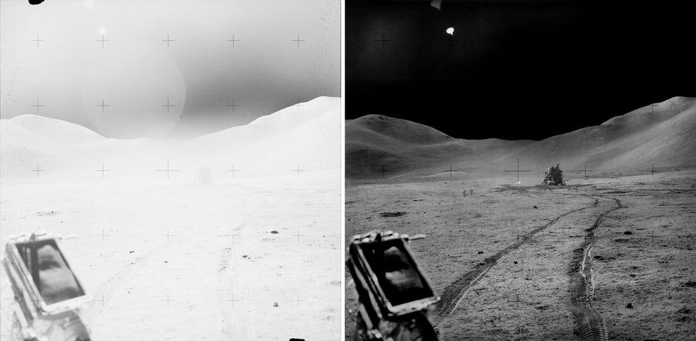 Foto prima e dopo delle tracce LRV sulla superficie lunare.