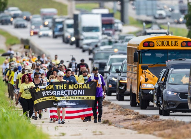 Activists with the Poor People's Campaign and Powered by People participated last week in a Selma-style march for democracy from Georgetown, Texas, to the state Capitol in Austin.