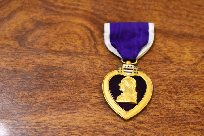 A Purple Heart medal for display at the Military Memorial Museum Thursday, Aug. 5, 2021. The Ardmore museum has over 100 military medals on display including several Purple Hearts.
