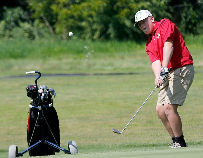 Loudonville High School's Judah Layton chips onto a green during the Simonson Golf Invite at Brookside Golf Course on Thursday, Aug. 5, 2021. TOM E. PUSKAR/TIMES-GAZETTE.COM