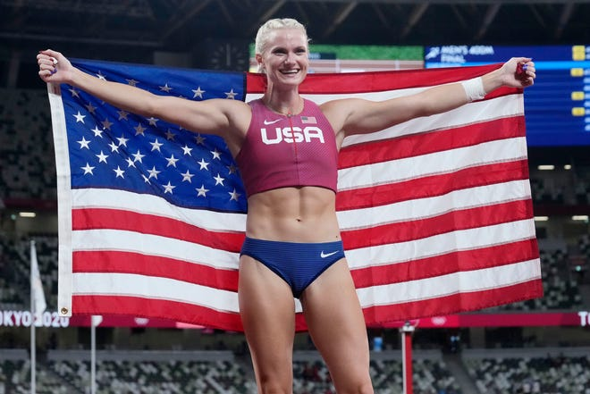 Gold medalist Katie Nageotte reacts after the women's pole vault during the Tokyo 2020 Summer Olympic Games at Olympic Stadium on Thursday.