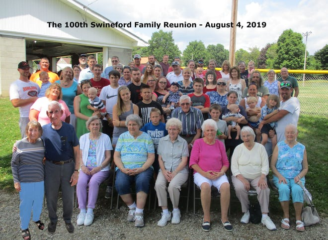 Photo of attendees of the 100th Swineford Family Reunion held on Aug. 4, 2019 at Lewis Park in Jeromesville was passed around at the 101st Swineford Family Reunion, which was Aug. 1, 2021.