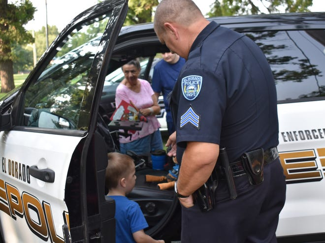Young and old alike were given a look inside a patrol car.