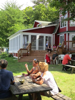 """Come by car, bike, foot or boat for this fun """"height of summer"""" event to benefit the Arts Center of Yates County, and enjoy your special sundae outside on the Sunny Point lawn where professional guitarist David Boyd will be providing entertainment."""