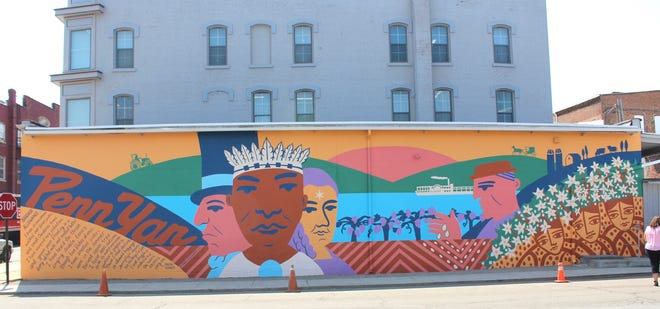 The finished Penn Yan mural on East Elm Street.