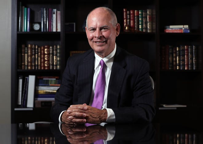Dave Kaufman was named Capital University's 17th president last month after more than a year in an interim role. He is shown at his office Aug. 5 at the university.