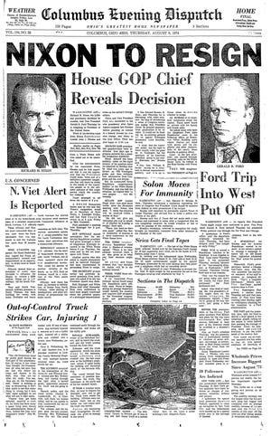 Columbus Evening Dispatch, August 8, 1974 - Nixon to resign as president