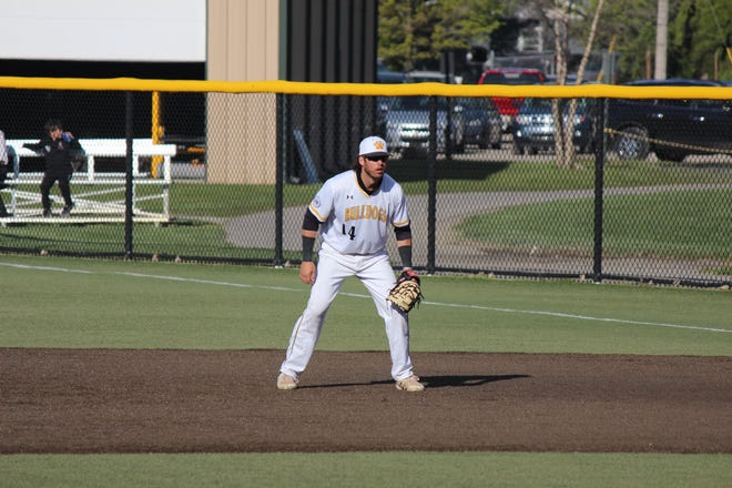 Adrian College's Nick Rauch plays first base during a game in the 2021 season. [Photo courtesy Mike Prang/Adrian College athletics]