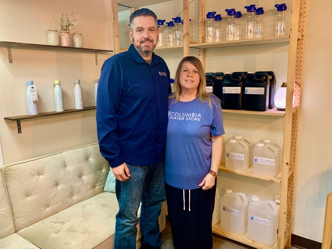 Eric and Angela Russell opened the Columbia Water Store in May of this year. The business offers monthly memberships, which provides unlimited alkaline water for customers.