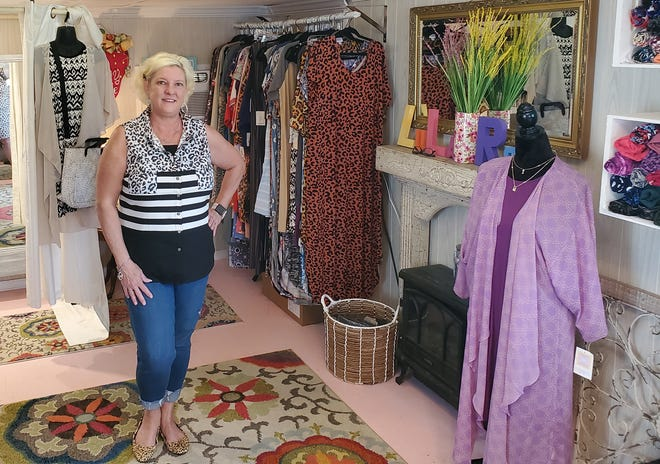 About four times each week, Melissa Crotts of Tyro sells LuLaRoe clothing from her Melissa Grace Boutique using Facebook Live shows she hosts in a decorated outbuilding at her Tyro community home. She said without the internet, her business would not be a successful as it is today.