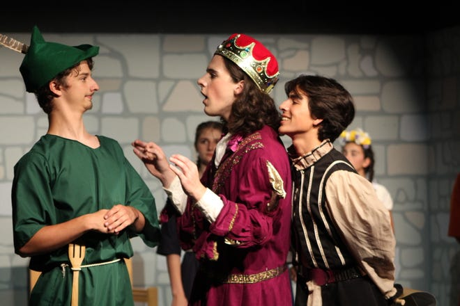 """Robin Hood, Prince John and the Sheriff of Nottingham in Holland Community Theatre's """"The Somewhat True Tale of Robin Hood."""""""