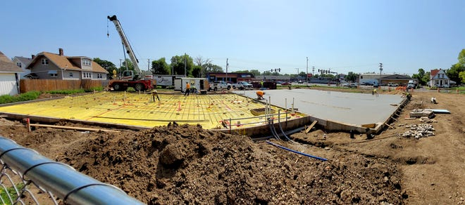 Workers continue construction on a new Peoria Fire Department station at the corner of South Western Avenue and West Howett Street in Peoria.