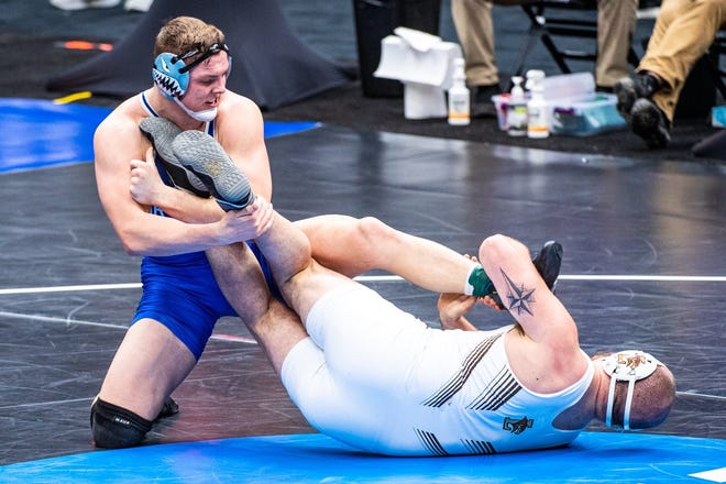 Newton High School graduate Wyatt Hendrickson, who now wrestles for Air Force (in blue) will compete at the Junior World Freestyle Championships as a member of Team USA in Ufa, Russia this month.