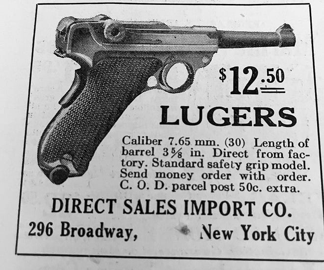 This ad from a 1923 copy of National Sportsman showed how cheaply you could by Luger.