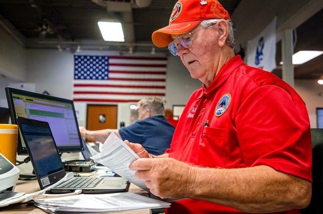 Allen Benton works at the Dale K. Graham Veterans Foundation office in Norman on Thursday.