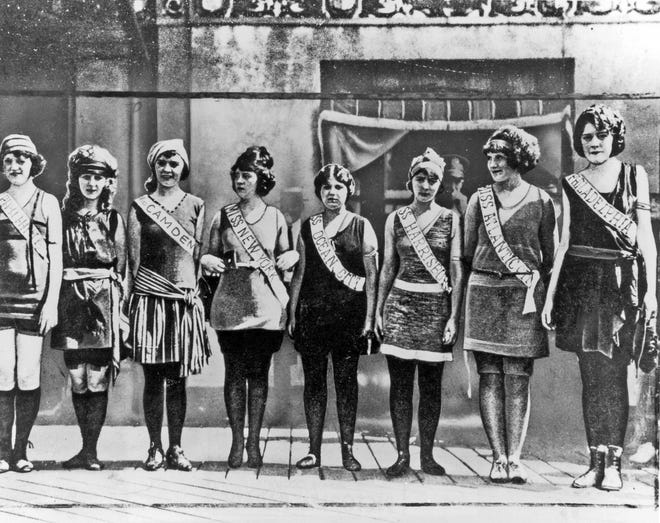 First Miss America pageant, Sept. 8, 1921, bathing suit competition in the daring style of the day.