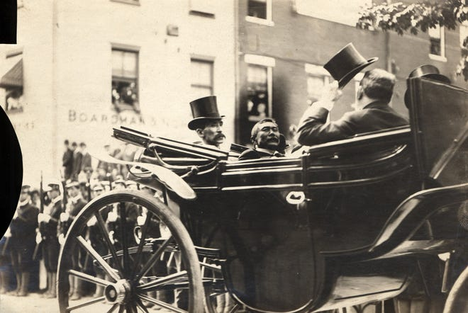Japan's Baron Jutaro Komura, left, arrives at the Rockingham County Courthouse in Portsmouth on Aug. 8, 1905, on the opening day of Portsmouth Peace Treaty negotiations.
