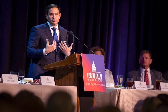 Sen. Marco Rubio speaks at the Forum Club luncheon at the Kravis Center in West Palm Beach on August 21, 2019. [ALLEN EYESTONE/palmbeachpost.com]