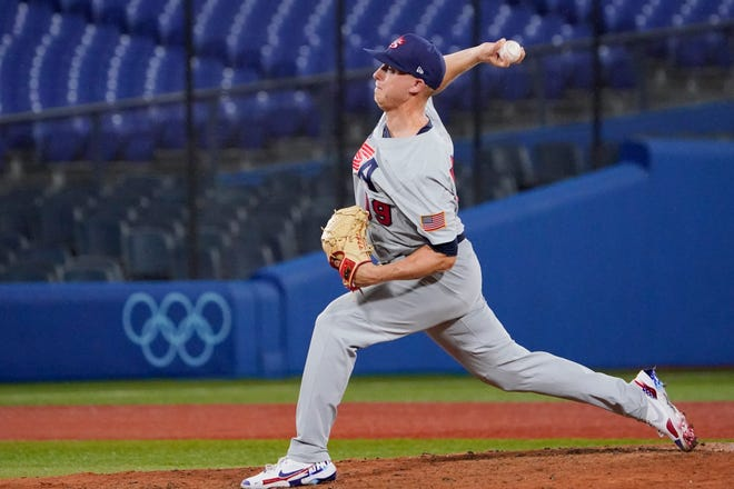 U.S. pitcher Scott McGough pitches during the ninth inning of Monday's game against Japan at the 2020 Summer Olympics in Yokohama, Japan.