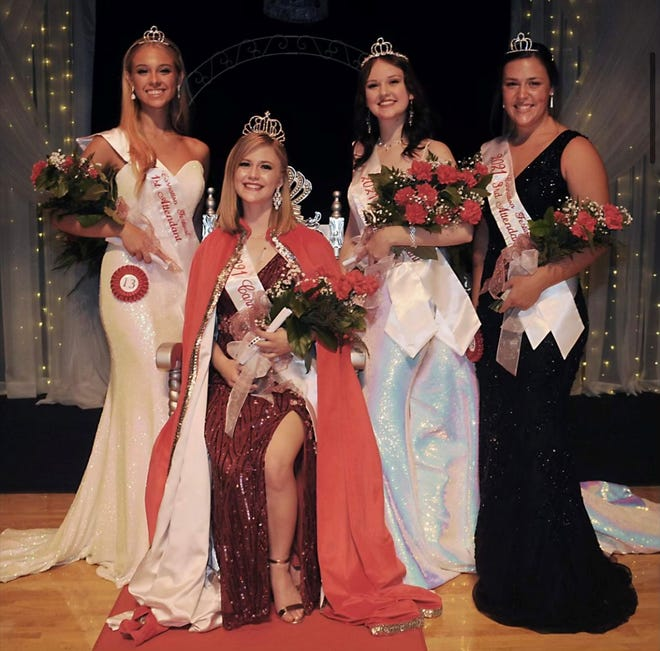 From left to right: First Attendant Madeline Davis, Carnation Queen Torrie Forrest, Second Attendant and Miss Congeniality Bethany Caruthers and  Third Attendant Leah Springer.