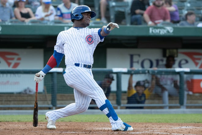 South Bend Cubs designated hitter Yonathan Perlaza is shown in this file photo from June 10, 2021. Perlaza smacked a home run Wednesday during a 6-5 loss to Lake County.