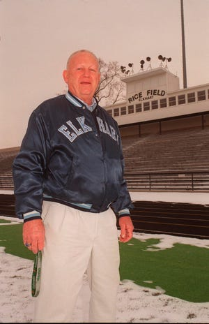 Legendary Elkhart Central High School football and track coach Tom Kurth, pictured here in 2006, died Wednesday, Aug. 4, 2021. He was 85.