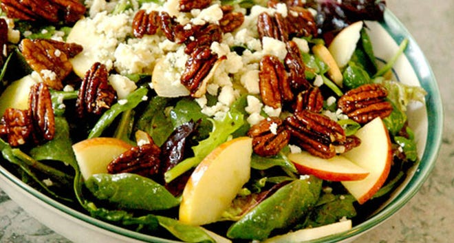 Spinach and Blue Cheese Salad With Sliced Apples and Spiced Caramelized Pecans