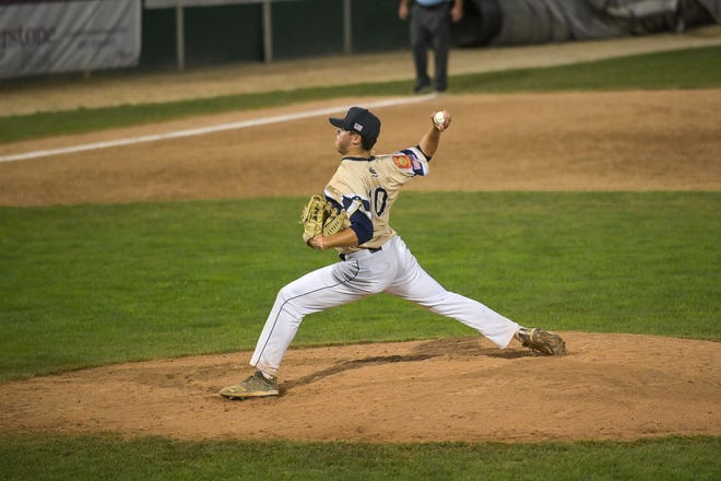 Shrewsbury's Connor Schmautz throws a pitch during Wednesday's game.